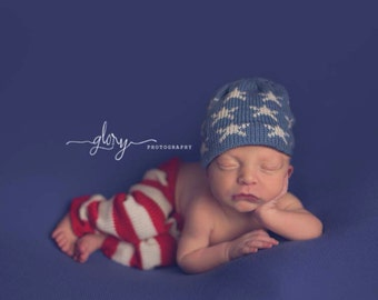 Newborn pants & hat, knit, red, white and blue, july 4th baby, 4th of july