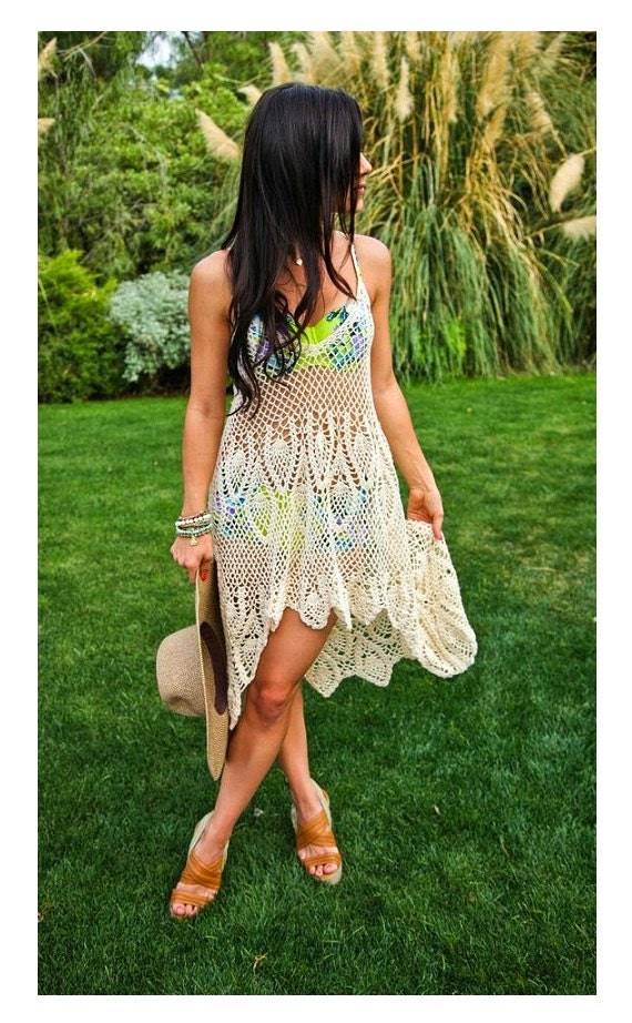 Beauty and the Beach  Crochet Cotton Halter Dress Made to Order