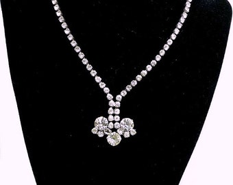 Czech Rhinestone Necklace - Clear Prong Set Signed Jewellery - Bride's Wedding