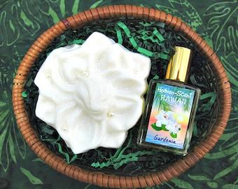 GARDENIA GIFT BASKET. Gardenia Roll-on Perfume with Decorative Gardenia Soap. Custom-blended Fragrance. Gift from Hawaii!