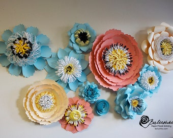 Paper Floral Collage Handmade Paper Flower Art Wall Decoration Home Decor Nursery Decoration Special Events 3D Paper Collage
