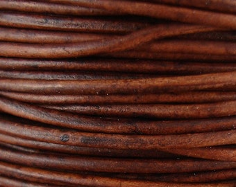 1.5mm Antique Red Brown Leather Cord, 50 Meters, 164 Feet, Distressed, Round, Genuine, Natural Dye, Lead Free, Soft