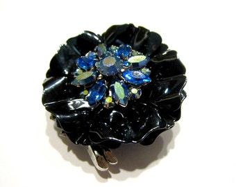 """Vintage Designer Selini Signed Brooch Vintage Blue Enamel Flower Pin Large 2"""" Gift for Her Gift for Mom Under 50 Gift Idea Stunning"""