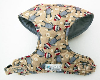 Sock Monkey Comfort Soft Dog Harness - Made to Order -