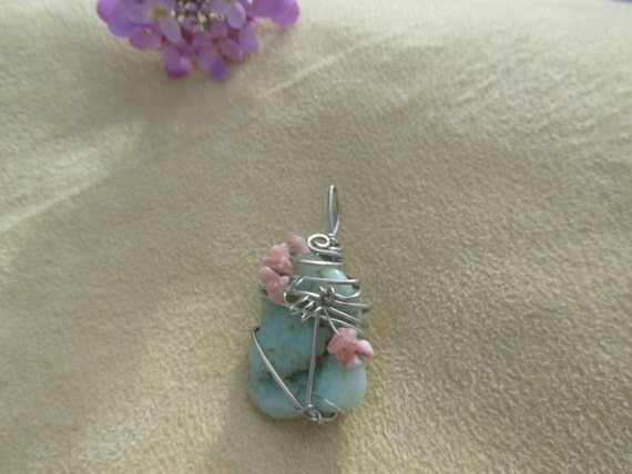 Natural Gemstone Pendant, Chrysoprase and Rhodocrosite, Heal My Broken Heart, Healing Stones, Forgive and Move On, Gemstone Synergy