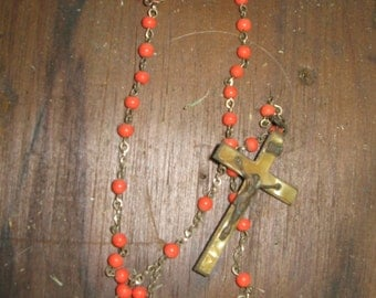 Beautiful vintage rosary  made of maybe coral beads