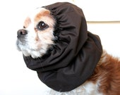 Brown Waterproof Dog Snood - Stay-Put 3 Rows Elastic Thread - Long Ear Coverup