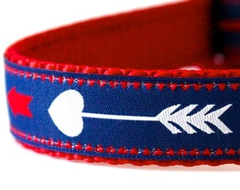 Red, White and Blue Arrows Dog Collar, Adjustable Blue Pet Collar, Tribal Print, Boho Chic