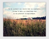 Inspirational Art Quote Print, Emerson, typography, photography, landscape, Be yourself