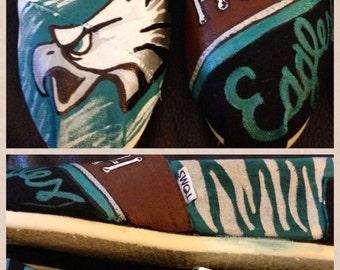 Painted Philadelphia Eagles Toms