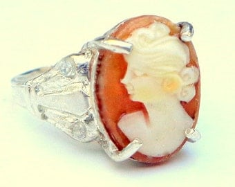 Carved Cameo Ring, Coch Shell Cameo Ring, Hand Carved Cameo,Vintage Cameo, Sterling Silver,Cameio Ring, OOAK