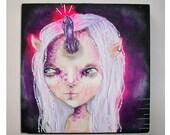 folk art Original girl painting whimsical mixed media crystal unicorn art painting on wood canvas 6x6 inches - The Amethyst Unicorn
