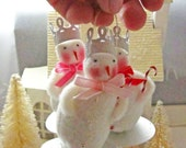 Trio of Snowmen Ornaments Tiny Work of Art Vintage Inspired