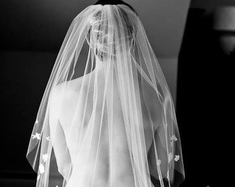 New - Wedding Veil - Handmade Fingertip Length Veil with Bridal Lace  Appliques - made to order