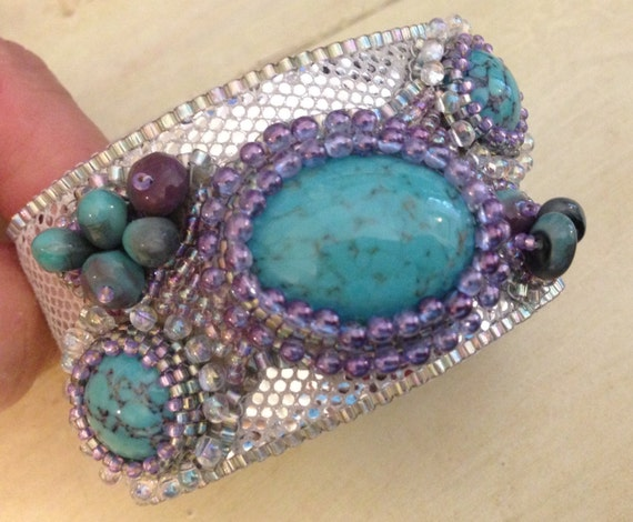Kit and pattern tutorial bead embroidery cuff bracelet for