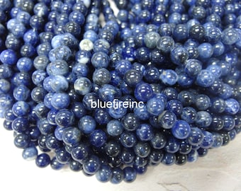 6mm round smooth blue color sodalite beads in full strand