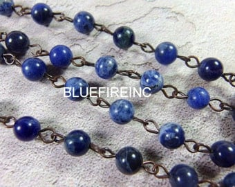 3 feet 6mm Round Smooth Sodalite  beads with Antique Cooper Wire Chain // Beaded Gemstone Jewelry Chain // Unfinished Chain
