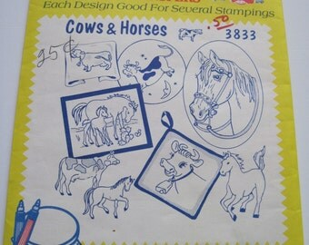 Aunt Martha's Hot Iron Transfers - 3833 - COWS and HORSES - Never Used