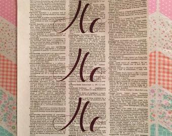 ho ho ho print. old dictionary. santa. christmas print. believe. christmas. glitter font. ho ho ho.