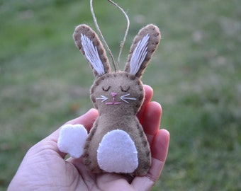 Bunny Ornament, Bunny Rabbit Easter Ornament, Wool Felt Bunny Ornament, Woodland Ornament, BROWN BUNNY, Bunny Easter Ornament