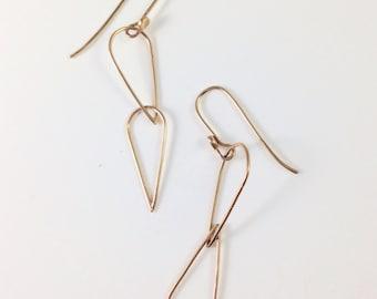 Solid 14K Yellow Gold Earrings, Drop, Dangle, Handmade