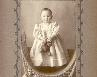 ANGELIC Faced Little Girl Holds On To Her TEDDY BEAR Photo Circa 1905