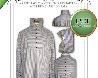 PDF Mens Victorian Shirt Sewing pattern. Instant Full Sized Print at Home. USA letter / A4 paper