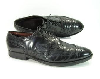 allen edmonds wingtip shoes mens 10 D black McAllister oxford brogue leather vintage