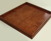 Large Custom 30x30 Handmade Cherry Stained Wood Ottoman Serving Tray