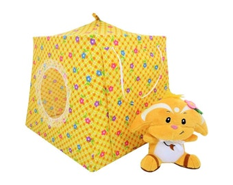 Toy Pop Up Tent, Sleeping Bags, yellow, flower & check print fabric