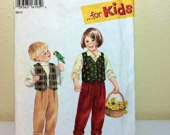 Simplicity Kids Pattern 9266 Pants and Vest Size A 2 3 4 5 6 6X  1990s Unisex