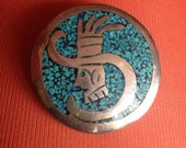 Alpaca Silver mexican god deity head design pendant or pin / brooch  - marked to reverse