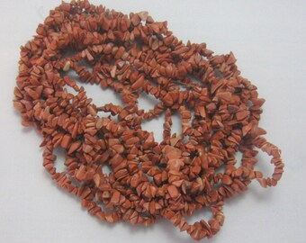 "Red Jasper Chip Beads Semi Precious Gemstone Beads Craft Supplies Bead Supplies Endless Loop 29"" Strand Rustic Jewelry Designs (1)"