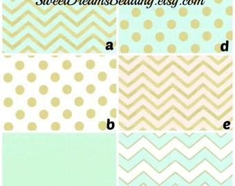 Custom Crib Bedding You Design   Bumper and Bedskirt  Mist  Gold Mettalic  Glitz Mist