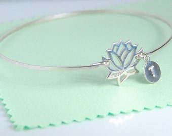 Lotus bangle bracelet, Medium size lotus, sterling silver bracelet, personalized w/ or w/o hand stamped initial, dainty everyday jewelry