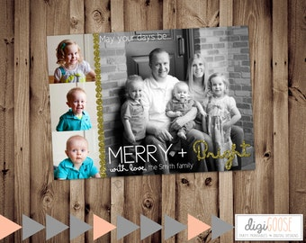 SAME DAY TURNAROUND Custom Christmas Card // Holiday Greeting Card // Merry and Bright // Christmas Photo Card // 4 pictures // 053