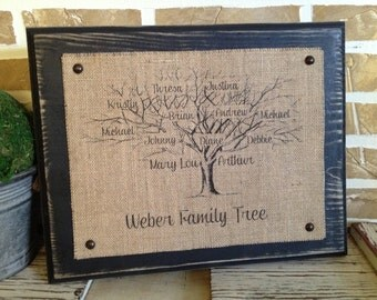 Family Tree | Family Name Sign | Mother's Day Gift | Family Reunion |Family Tree -  Burlap Wall Hanging with Distressed Wood Backing