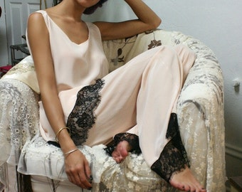 100% Silk Pajamas Rose Silk Sleepwear Lingerie Silk Lingerie Silk Robe Black Lace Flapper Gatsby Pajama 20's Pajama