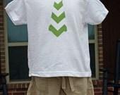 Child Tie Applique Shirt (0-7) in Riley Blake Green Chevron