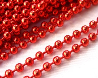 6ft Red Ball Chain 3mm Keychain Necklace Chain Jewelry Findings ac095