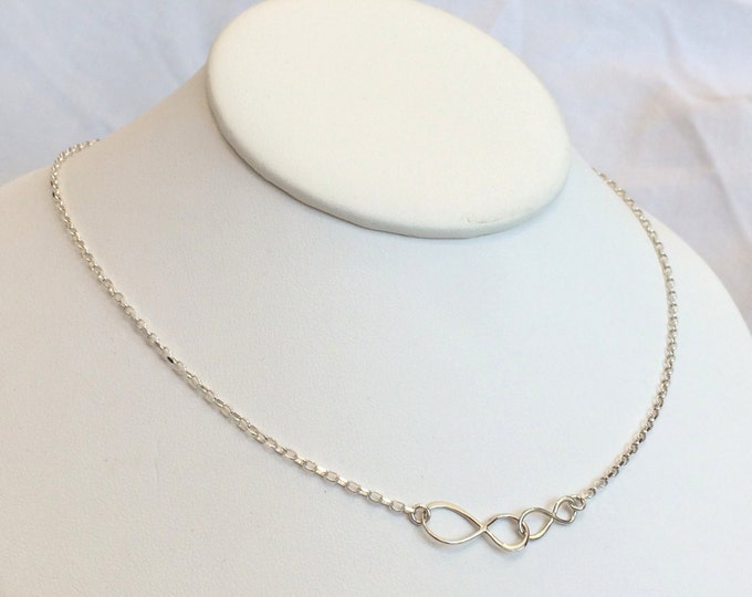 "Mother Daughter Infinity Necklace--Sterling Silver 16"", 14"" or 12""  Perfect for Layering"