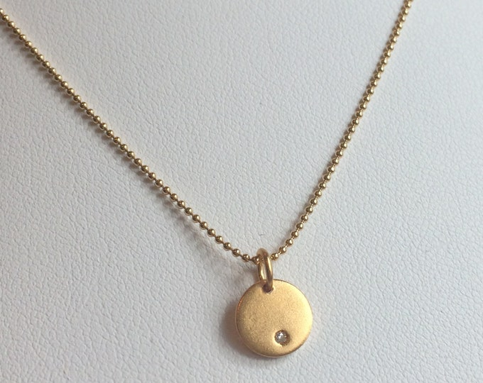 "Tiny Gold Diamond Pendant Necklace--16"" Gold Fill Bead Chain  Perfect for Layering"