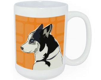 Husky Tea or Coffee Large Ceramic Mug - Time to Walk the Dog Mug - Funny Dog Coffee Mugs Husky Gifts