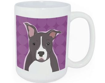 Pit Bull Coffee or Tea Large Ceramic Mug - Time to Walk the Dog Mug - Funny Dog Coffee Mugs Pit Bull Gifts