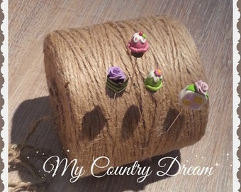 HAndmade  Sewing Pin Topper - set if 4 (polymer clay), clay pin topper