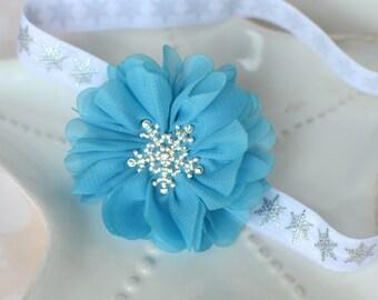 Elsa Snowflake Frozen Headband- Sparkly Snowflakes with Blue Chiffon Flower