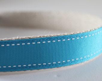 Hemp dog collar - Light Blue Saddlestitch
