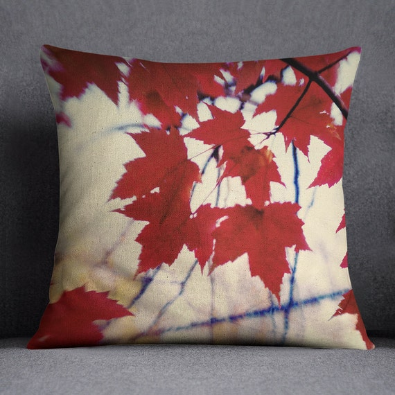 AUTUMN RED LEAVES Decorative Throw Pillow Case Red Leaves