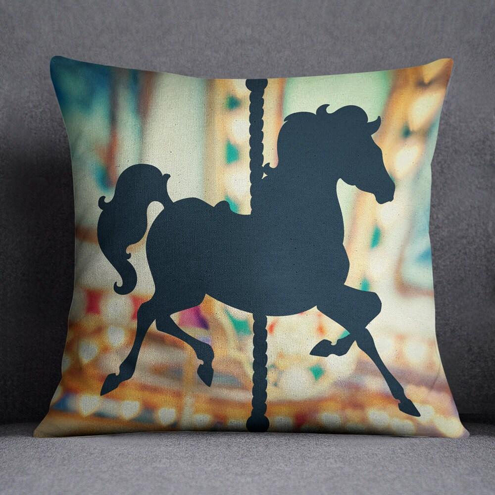 Decorative Pillows Horses : Blue Carousel Horse Decorative Throw Pillow w/optional