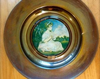 "Vintage ""Age of Innocence"" Reynolds P.R.A. Brass Plaque England Round Artwork Maiden"